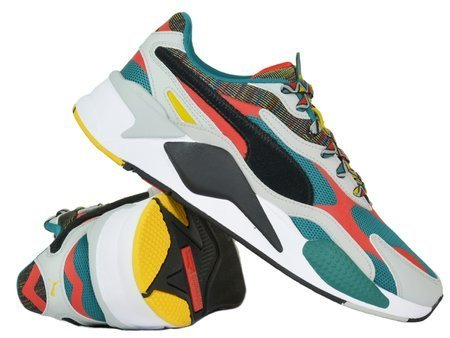 Puma - RS-X 3 Mix Dark Denim 373183-02 - Sneakers - Green / Grey / Red / Black / Yellow