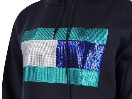 Tommy Hilfiger - Hanna Hoodie WW0WW24818 - Hoodie Dress  - Black / Green / Silver / Navy
