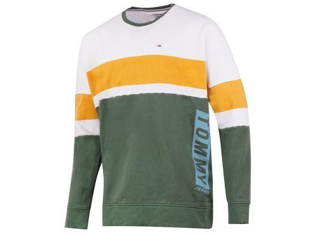 Tommy Jeans - Boxy Block CN DM0DM03650-901 - Sweatshirt - Green / White / Yellow
